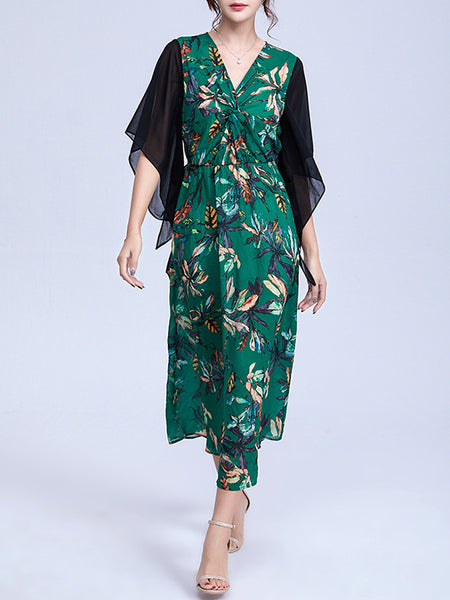 Asymmetric Print Flare Sleeve Stitching A-Line Dress