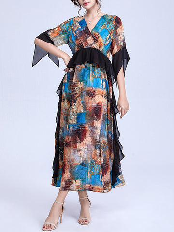 Asymmetric Falbala Patchwork Print Fairy Maxi Dress