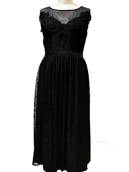 Oversize Black Perspective Lace Big Hem Maxi Dress
