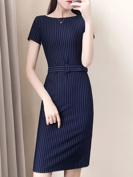 Work Sashes Stripe Short Sleeve Bodycon Dress
