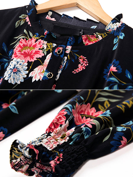 Big Hem Long Sleeve Floral Gathered Waist Print Vintage Dress