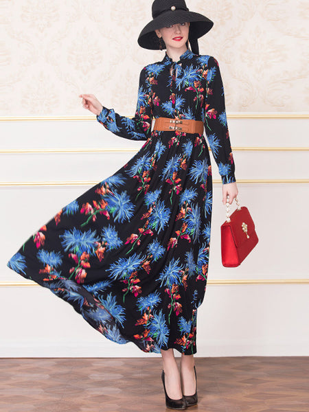 Print Vintage Stand Collar Big Hem Long Sleeve Maxi Dress