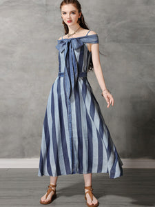 Denim Stripe Bowknot Button Off-The-Shoulder Folk Dress