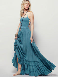 Cotton Solid Color Big Hem Ruffled Backless Bohemian Dress