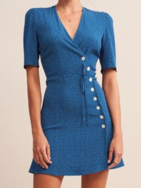 Blue Polka Dot Single Breasted Lacing Bodycon Dress