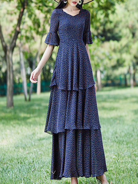 Polka Dot Tiered Lotus Sleeves Vintage Maxi Dress