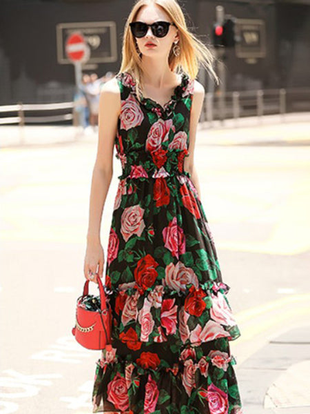 Elastic Ruffled Floral Print Big Hem Tiered Maxi Dress