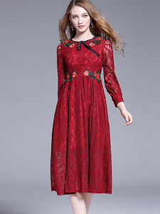 Embroidery Hollow Out Red Lace High Waist Skater Dress