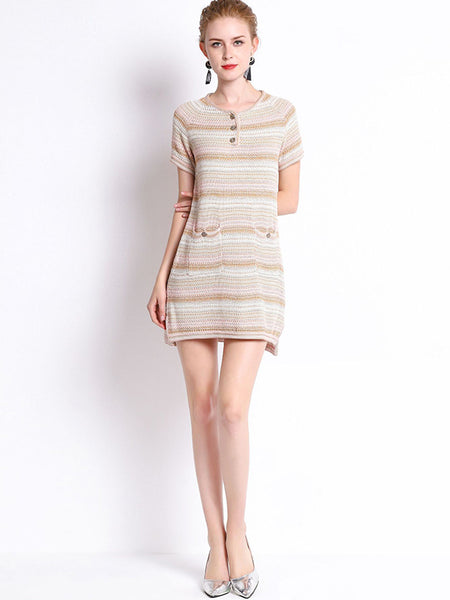Knit Pocket Stripe Button Casual Mini Dress