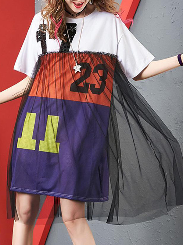 Loose Patchwork Hit-Color Knit Ruffled Street Dress