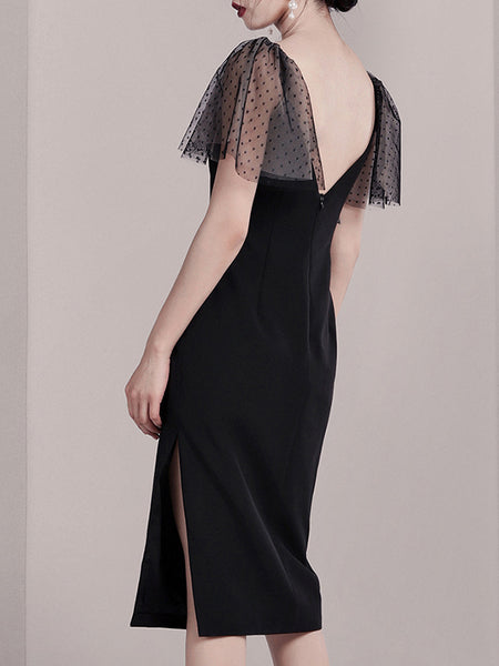 Lace Backless Sheath Patchwork Black Party Dress