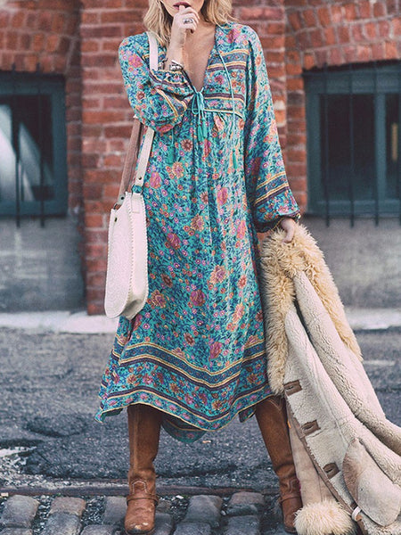 Tassels Deep V-Neck Irregular Print Bohemian Dress