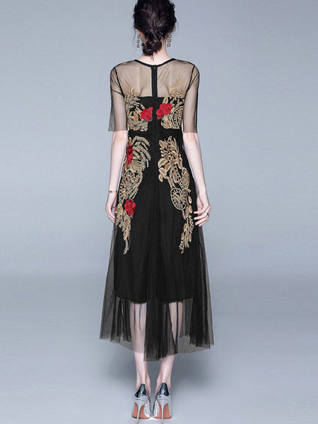 Mesh Perspective Embroidery Zipper Vintage Dress