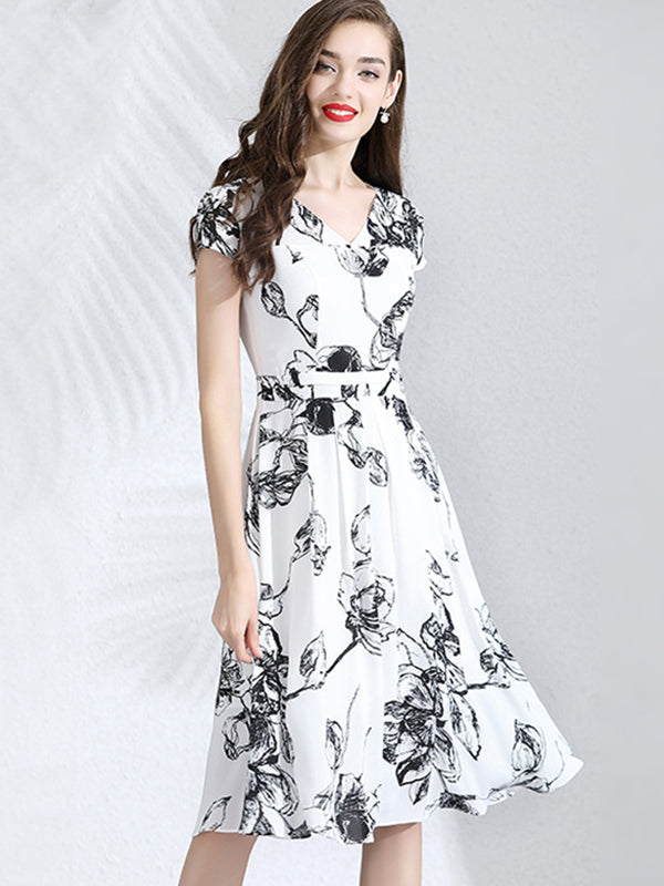 Gathered Waist Chiffon V-Neck Skater Dress