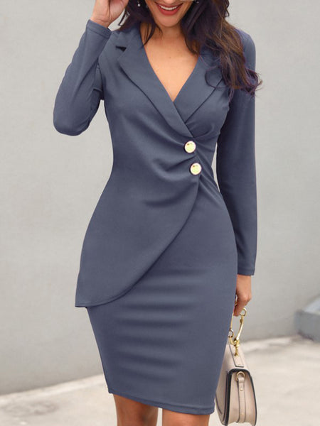 Button Ruffles Lapel Collar Work Sheath Dress