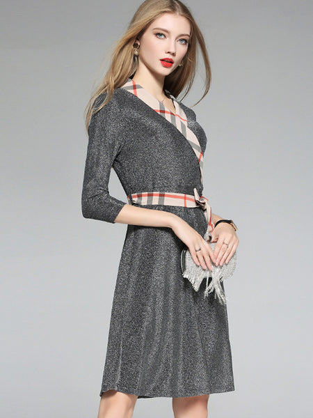 Bowknot 3/4 Sleeve Patchwork Sparkle Skater Dress