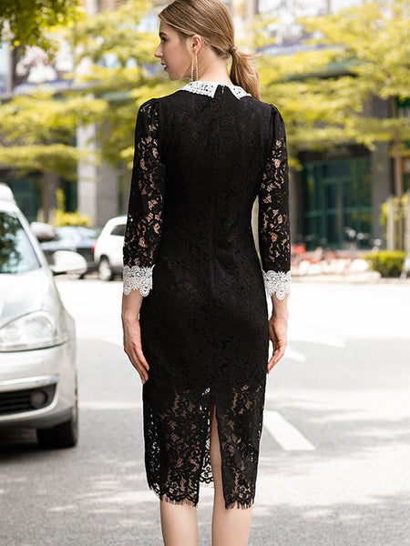 Decoration Lace Patchwork Perspective Bodycon Dress