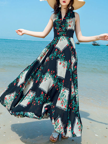 Chiffon Sleeveless Print Big Hem Beach Dress