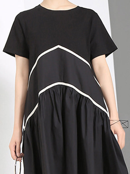 Stitching Ruffles Loose Short Sleeve Casual Dress