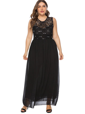 Oversize Sequin Lace Stitching Perspective Party Dress