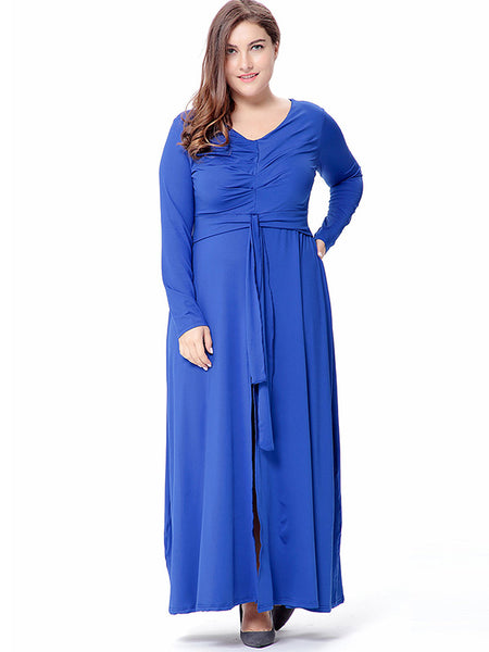 Oversize Blue Long Sleeve Slit Ruffles Maxi Dress