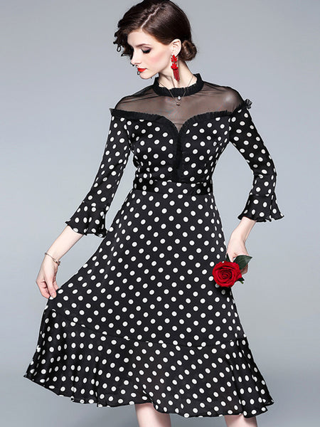 Perspective Polka Dot Patchwork Lace Skater Dress