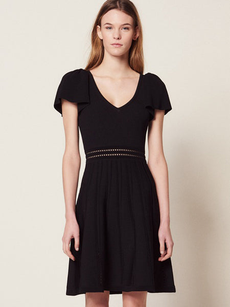 Deep V-Neck Backless Lace-Up Black Skater Dress