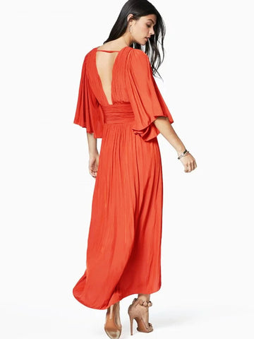 Asymmetric Backless Deep V-Neck Beach Dress