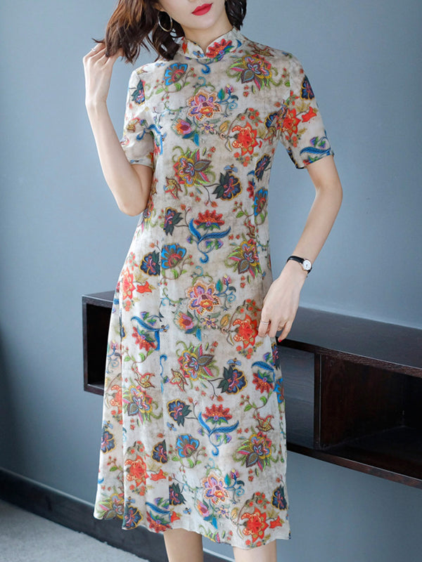Cheongsam Stand Collar Print High Waist Dress