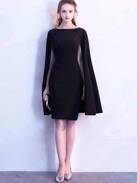 Party O-Neck Black Cloak Bodycon Dress