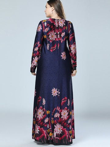 Oversize Floral Print Big Hem Zipper Long Dress