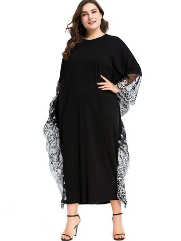 Oversize Black Dolman Sleeve Embroidery Maxi Dress