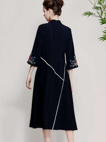 Vintage Embroidery 3/4 Sleeve Stand Collar Shift Dress
