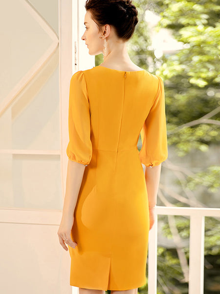 Decoration Ruffles V-Neck Solid Color Sheath Dress