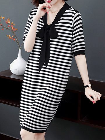 Bowknot V-Neck Stripe Loose Shift Dress