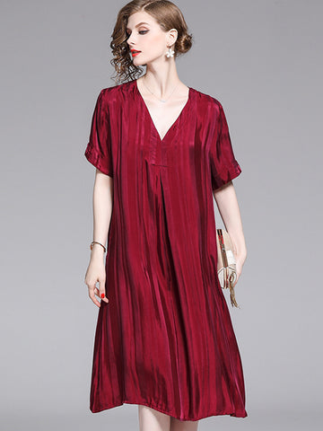 Loose V-Neck Silk Short Sleeve Shift Dress