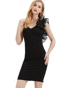 Slim V-Neck Sleeveless Black Bodycon Dress