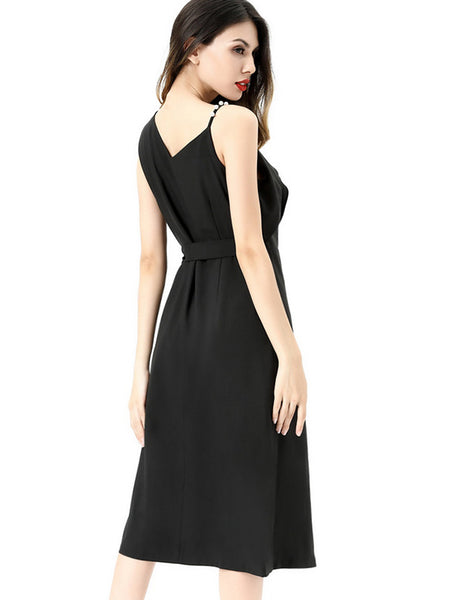 Asymmetric Beaded Slip Black Skater Dress