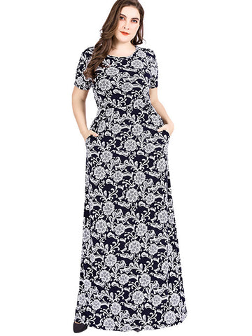 Oversize O-Neck Short Sleeve Big Hem Print Maxi Dress