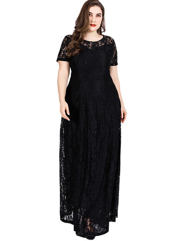 Oversize Lace Big Hem Hollow Out Maxi Dress