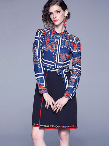 Turn-Down Collar Layerd-Look Embroidery Skater Dress