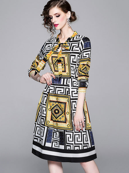 Bow Collar Print Gathered Waist A-Line Dress