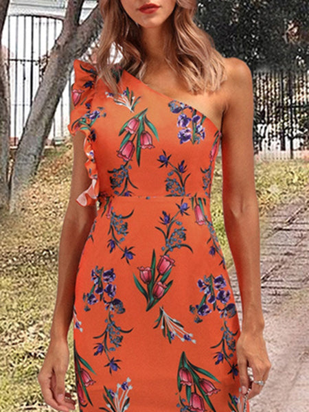 Ruffles Asymmetric Orange Mini Print Bodycon Dress