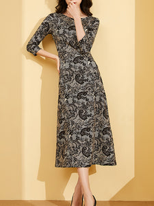 Slim Patchwork Seven Sleeves Lace A-Line Dress