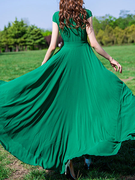 Button Stand Collar Green Lace-Up Maxi Dress
