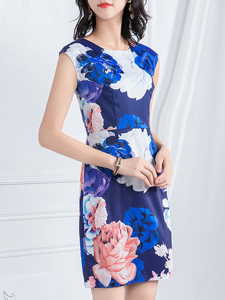 Slim Elegant Print O-Neck Mini Bodycon Dress