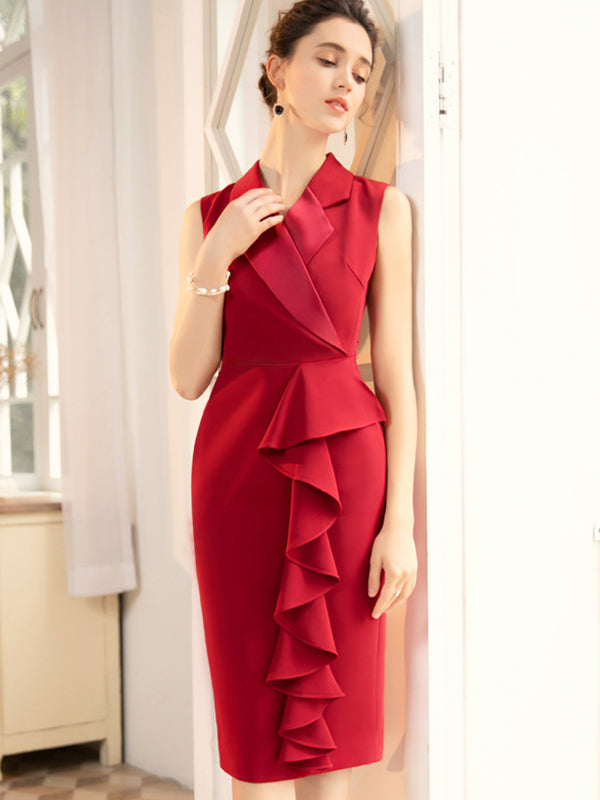 Ruffles Lapel Collar Sleeveless Bodycon Dress
