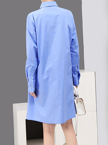 Irregular Pleat Single Breasted Shift Dress