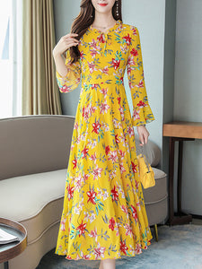 Chiffon Gathered Waist Falbala Lacing Maxi Dress