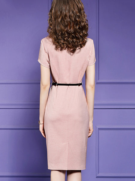 Pink Belt Button Stitching Bodycon Dress